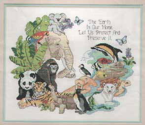 The Earth is our Home, Let is Protect & Preserve It Cross Stitch Picture with Animals such as Koala, Elephant, Parrot, Gorilla, Panda, Tiger, Tortoise, Penguin, Polar Bear, Walrus, Puffin, Dolphin, Turtle, Manatee, Tropical Fish & Butterflies